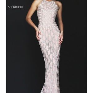 Beaded Open Back Long Prom Dress by Sherri Hill
